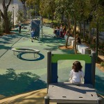 view from the top of the play hill at Serafeio playground designed by doxiadis+