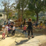 children playing at the inauguration of Serafeio playground designed by doxiadis+