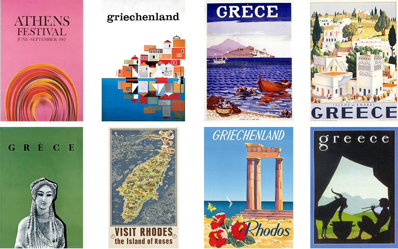 Posters promoting Greek tourism in the '60s by EOT – Greek Tourism Organization (source: lifo)